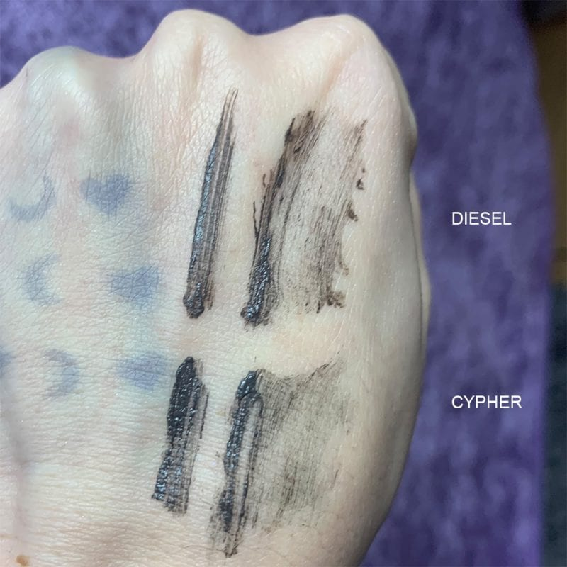 Milk Makeup Kush Brow Gel in Diesel and Cypher swatches