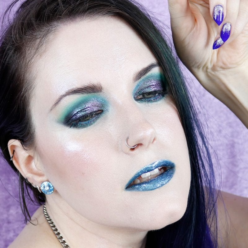 Courtney is wearing Sydney Grace Co Multichrome Cream Eyeshadow in Alexandrite with Melt Muerte palette