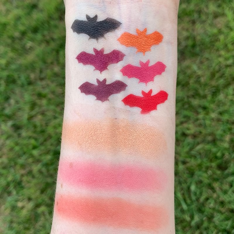 Nyx Chilling Adventures of Sabrina Spellbook Palette swatches on fair skin