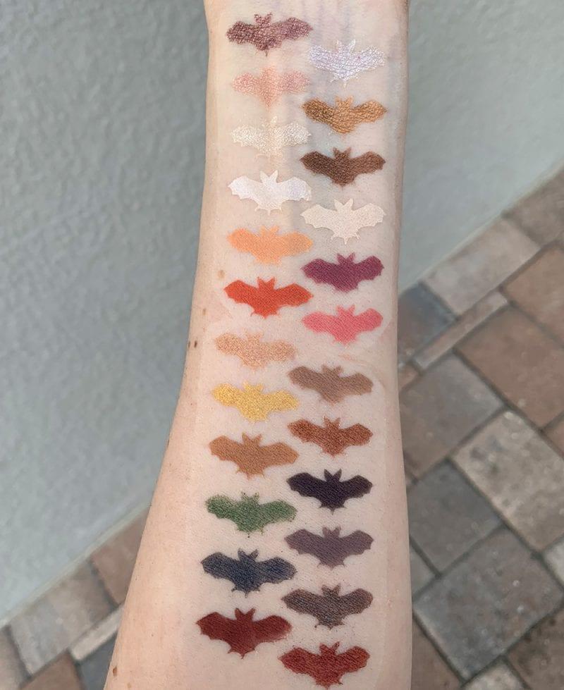 Nyx Chilling Adventures of Sabrina Spellbook Palette eyeshadow swatches on fair skin