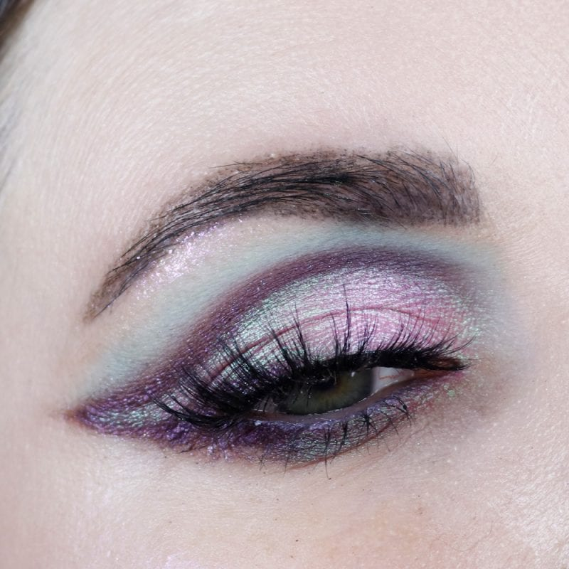 Purple, pink and blue duochrome eyeshadow