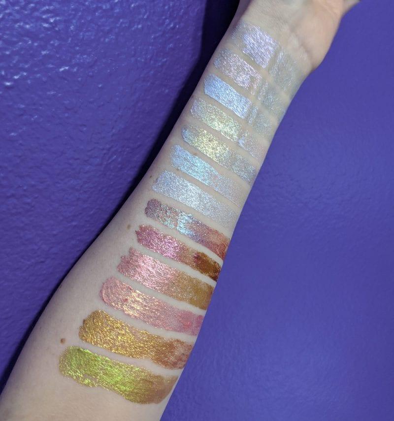 Kristen Leigh Glimmer Gels Swatches on Light Skin