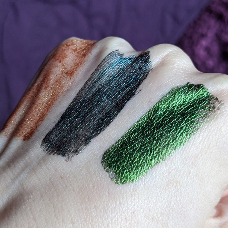JD Glow Liquid Multichromes Eyeshadows Swatches - Sphinx, Umm.., See Weed