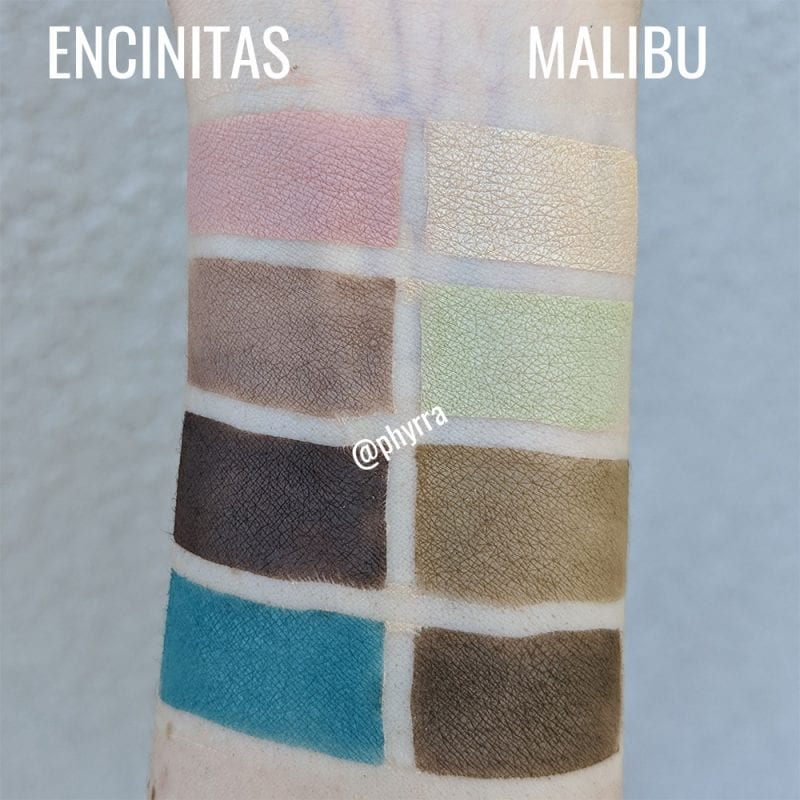 Nomad Cosmetics Malibu and Encinitas Surf Shack Palette Swatches