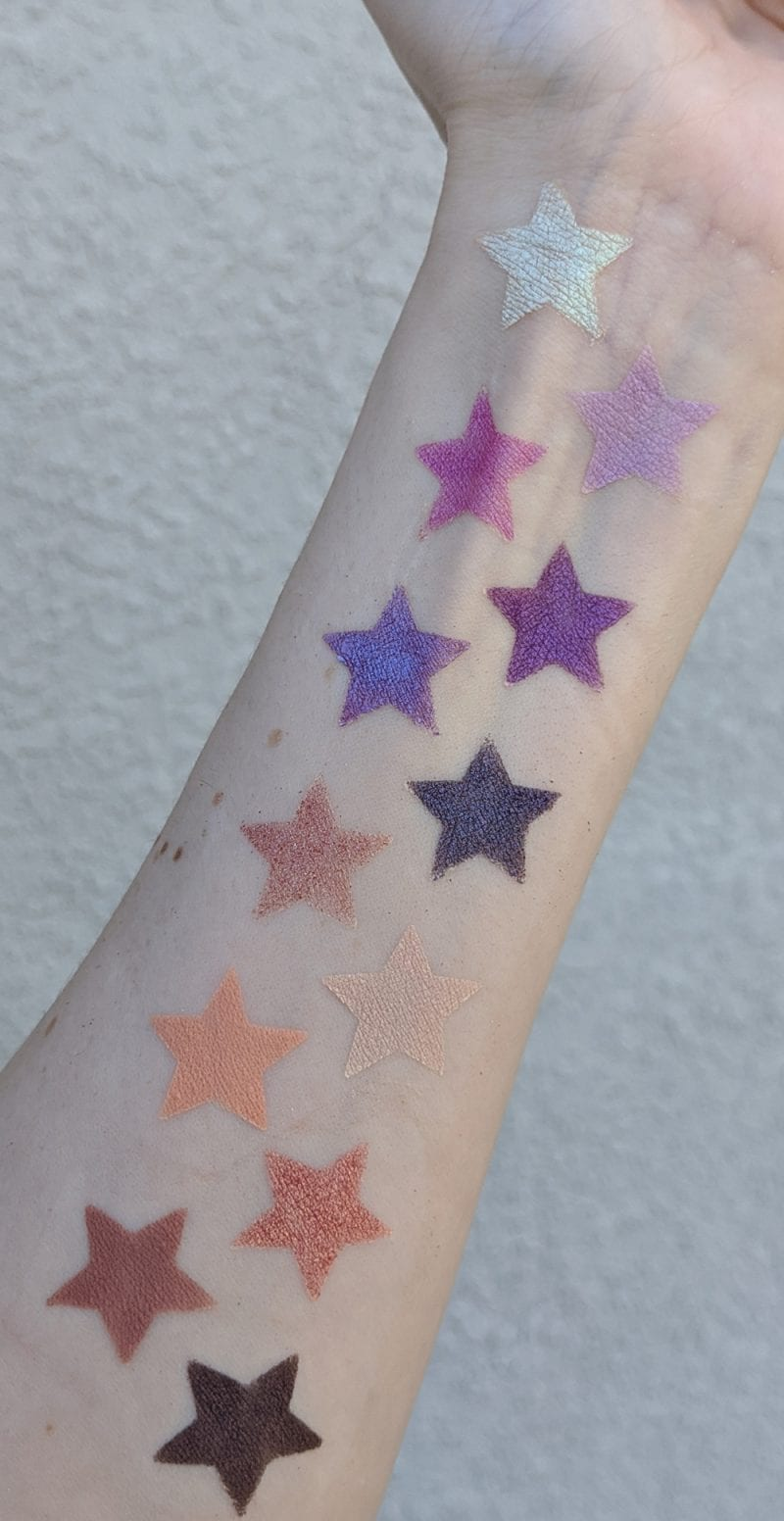 Urban Decay Naked Ultraviolet Palette swatches on fair skin