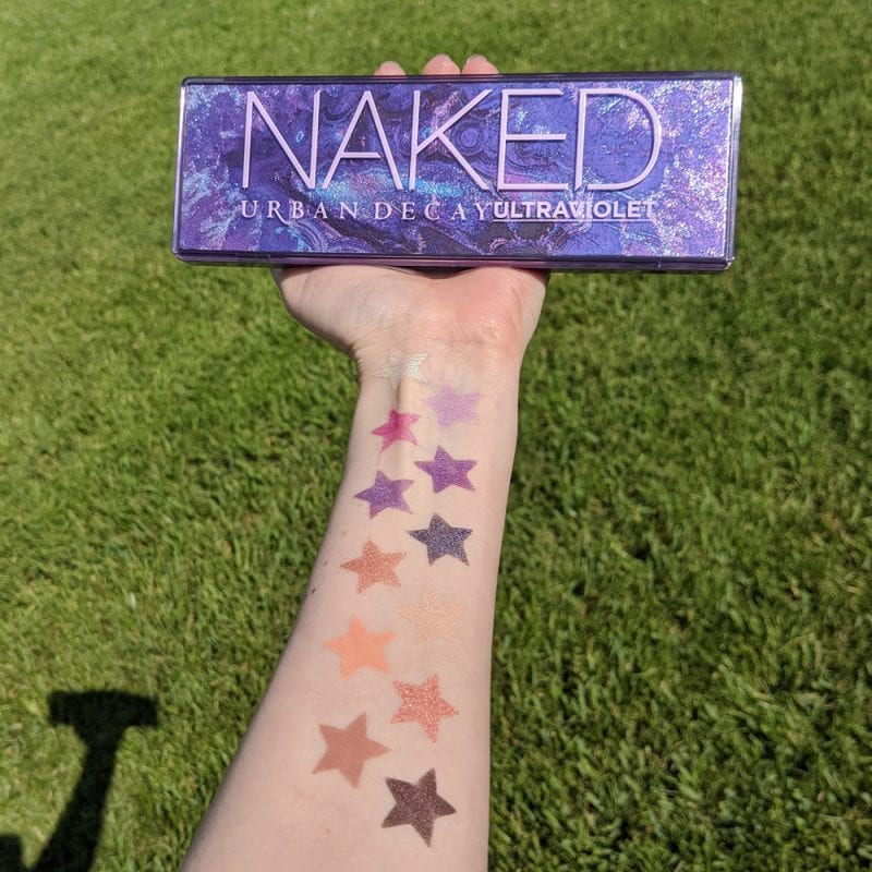 Urban Decay Naked Ultraviolet Palette swatches on light skin