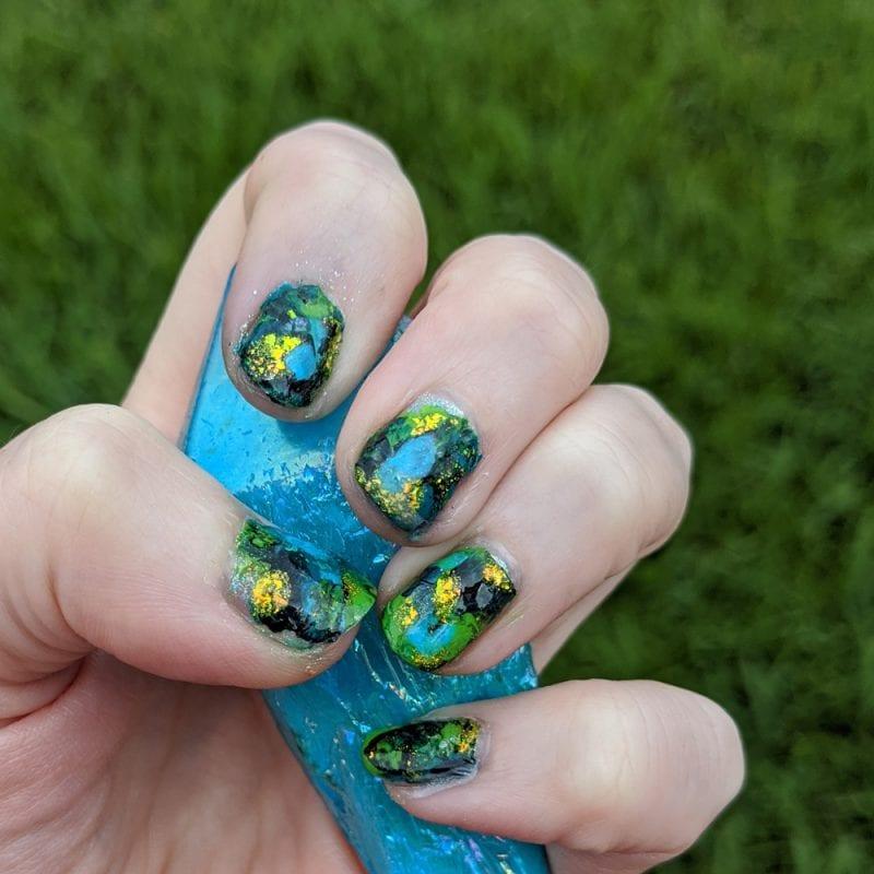 Blue Green Teal Lime Black Fluid Art Mani