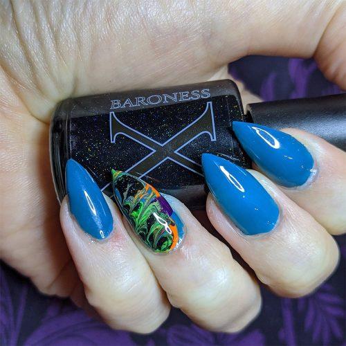 Baroness X Summer Fluid Art Nails