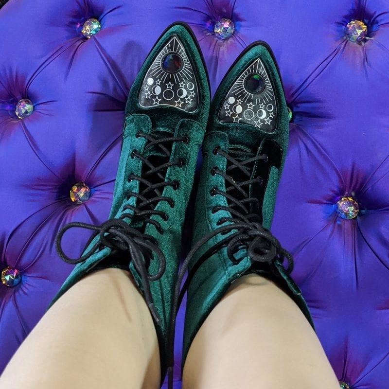 Strange Cvlt GrStrange Cvlt Green Velvet Spirit Bootseen Velvet Spirit Boots