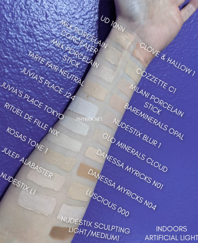 Fair Concealers and Stick Foundations swatches