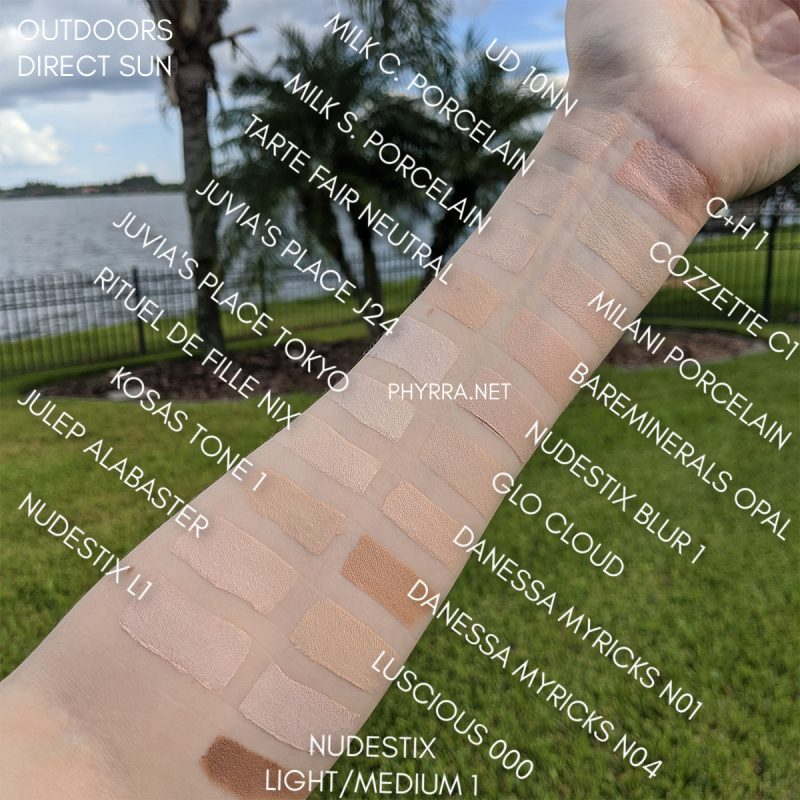 Pale Concealers and Stick Foundations Swatches