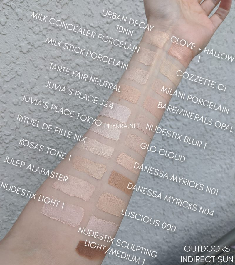 Very Fair Concealers and Stick Foundations Swatches
