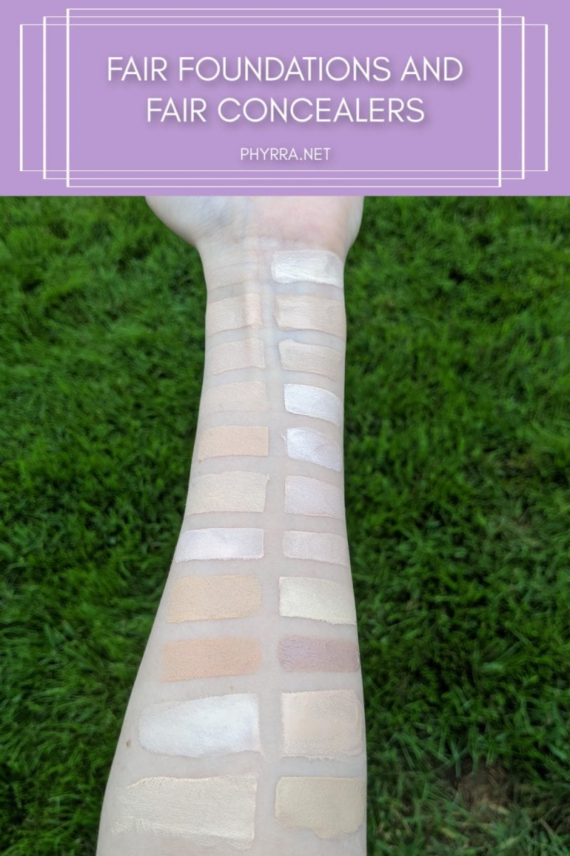 Fair Foundations and Fair Concealers Swatches