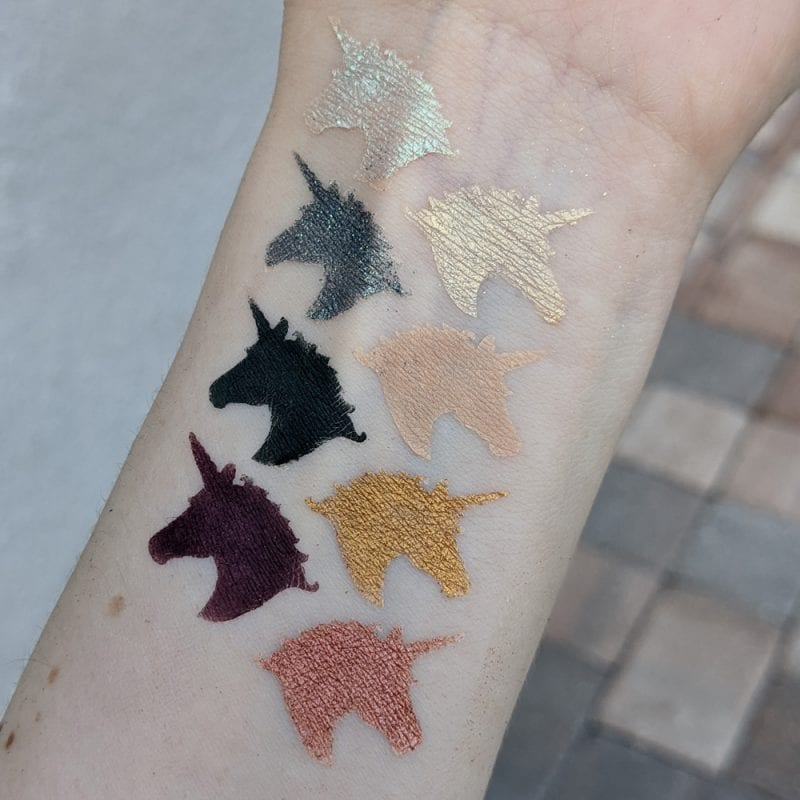 Lime Crime Prelude Chroma Palette swatches on fair skin