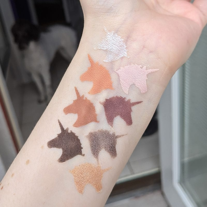 Lime Crime Prelude Exposed Swatches on Pale Skin