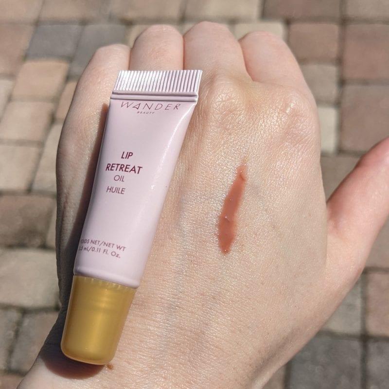 Wander Beauty Lip Retreat Oil in Skinny Dip Swatch on Fair Skin