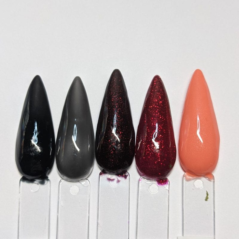 Black, Red and Orange Gel Nail Polish Swatches