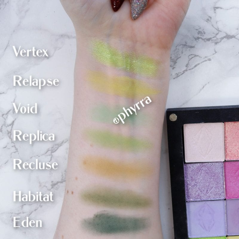 Lethal Cosmetics Green Eyeshadow Swatches