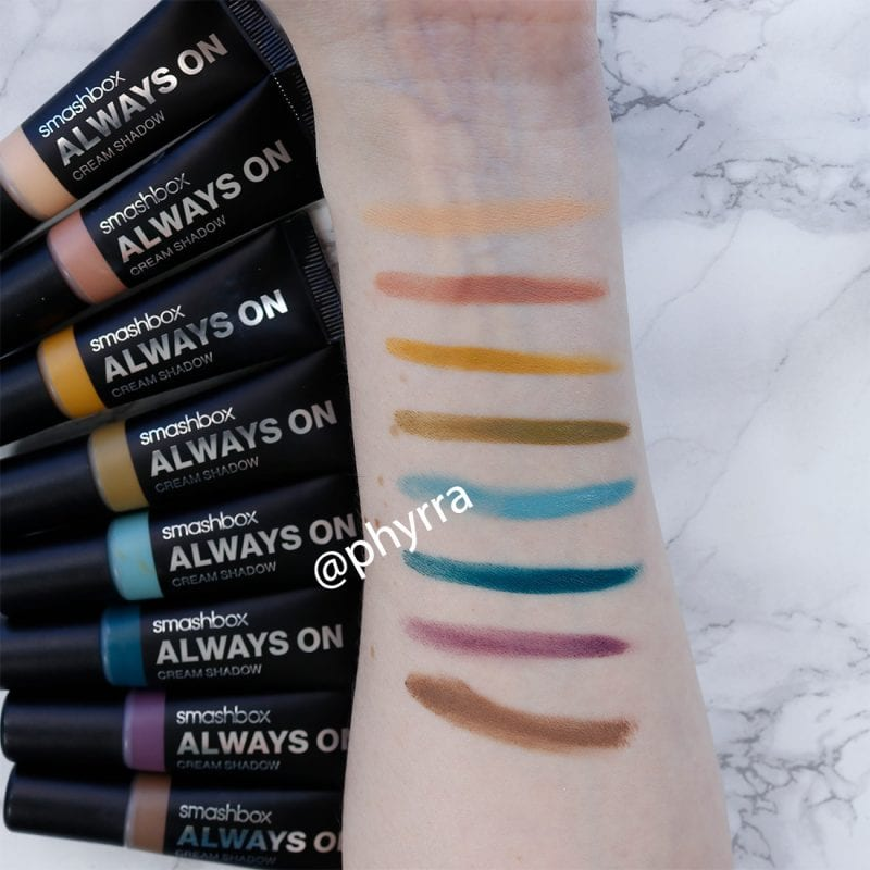 Smashbox Always On Cream Shadows Review and Swatches