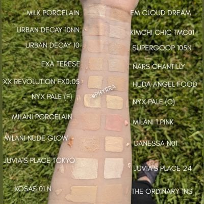 Foundations and Concealers for Fair Skin Swatches