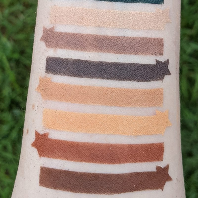 UD Naked Wild West swatches on Pale Skin