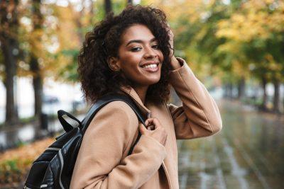 Beautiful Woman Outdoors posing