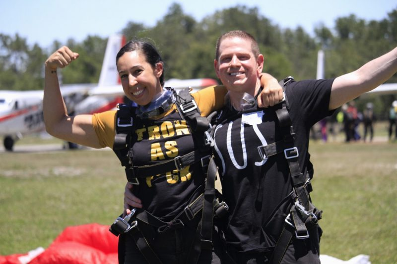 Dave and Tania after they went skydiving