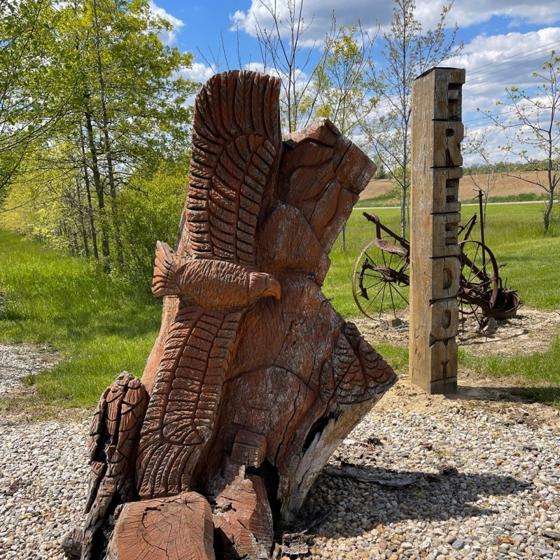 wood carving of a bald eagle