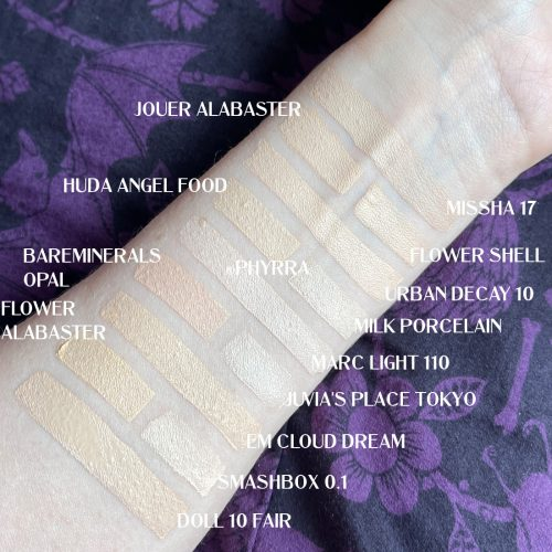 Marc Jacobs Extra Shot Caffeine Concealer and Foundation Swatches Comparison