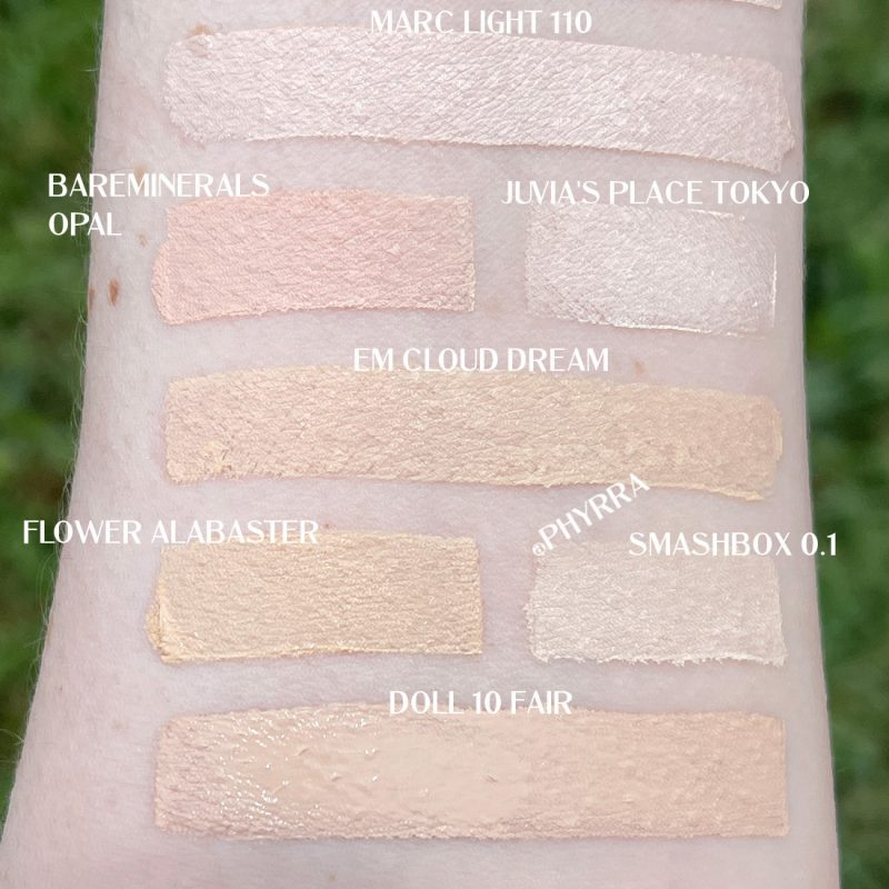 So sánh Swatch Foundation của Marc Jacobs Light 110 Extra Shot Foundation Concealer