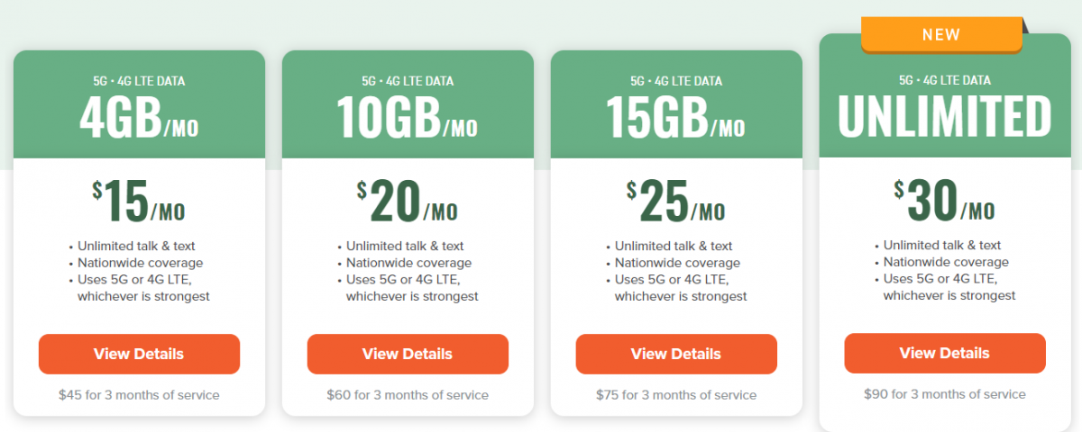 Mint Mobile Data Plans