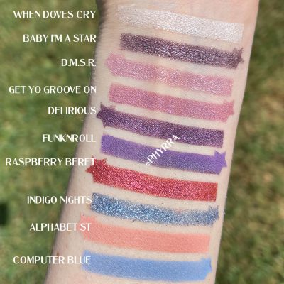 Urban Decay Prince Let's Go Crazy Palette Swatches on Fair Skin