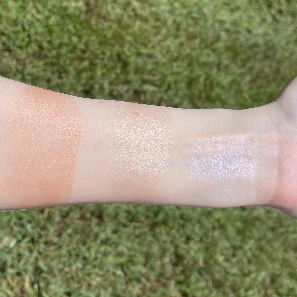 Lime Crime Sunkissed Glimmering Skin Sticks swatches on fair skin
