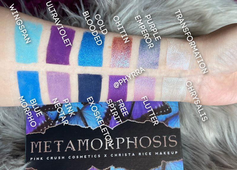 Pink Crush Cosmetics Metamorphosis Swatches on Fair Skin